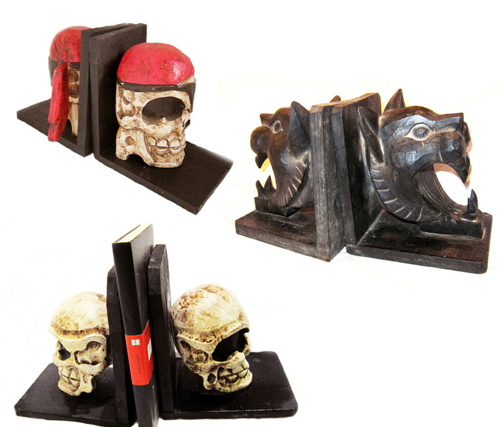 Pirate Skull Bookends Wood Gothic Horror Dramatic Haloween Theatre Prop New Ebay