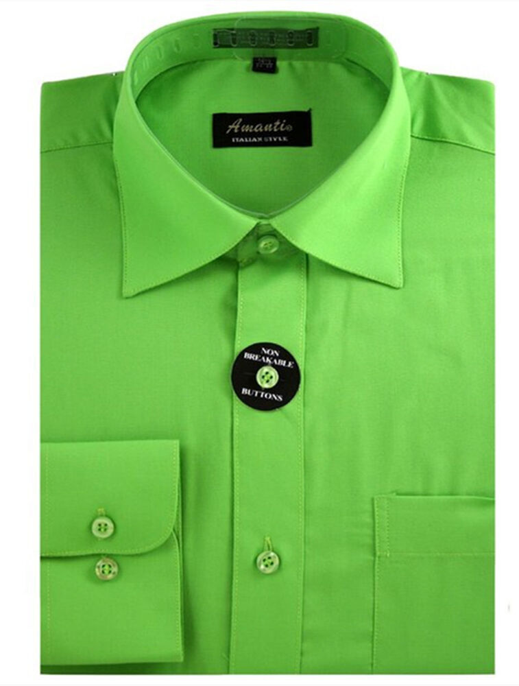 New amanti mens solid apple green wedding formal dress Emerald green mens dress shirt