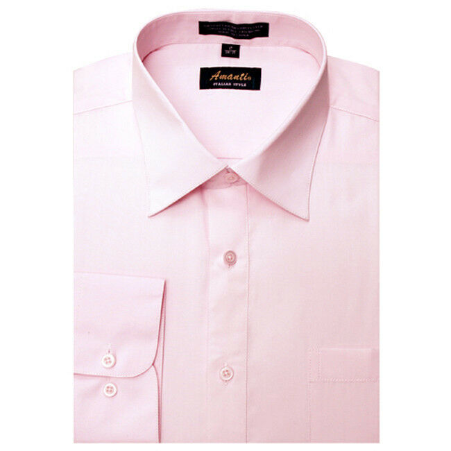 New amanti mens solid light pink wedding formal dress for Baby pink shirt for man