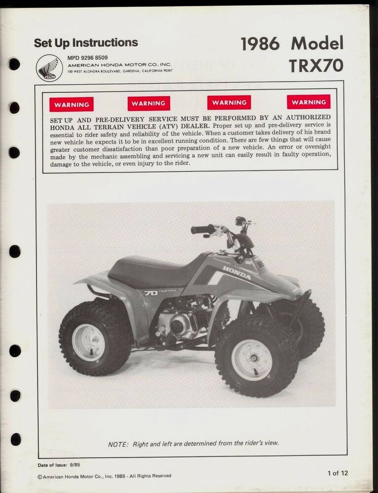 1986 Honda Trx 70 Set Up Instruction Manual