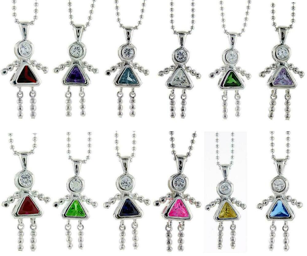 Sterling silver birthstone baby girl pendant charm w colored cz amp 18