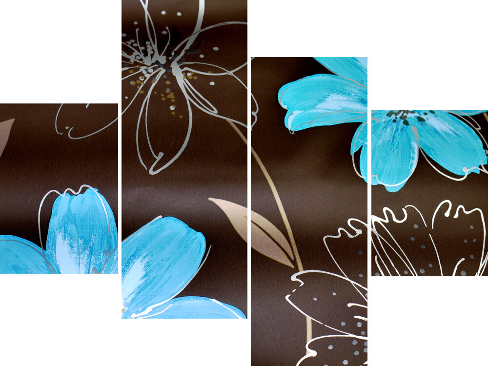20 x 40 long 4 panel wall art canvas pictures abstract for Teal wall art