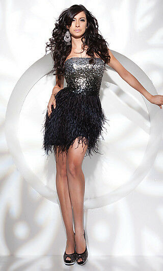 Sexy Strapless Short Sequin Bodice Feather Skirt Prom ...