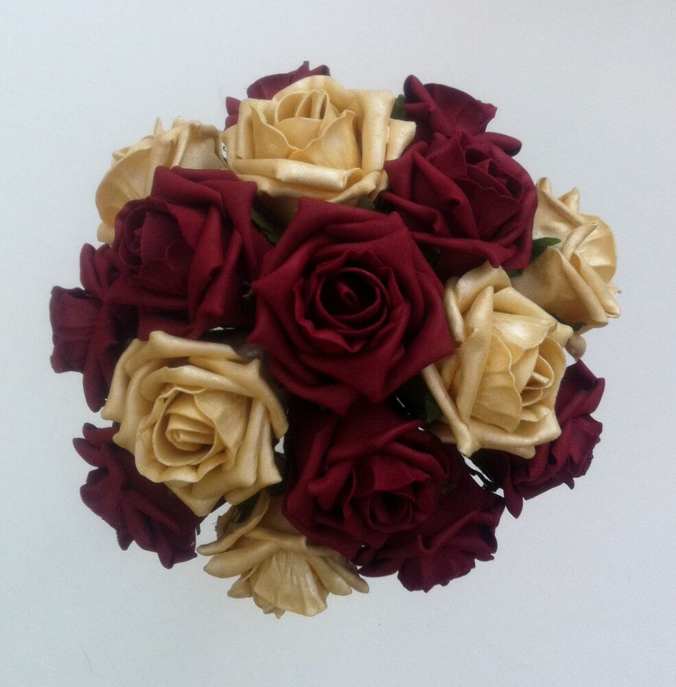 "Roses Wedding Flowers: 9"" Burgundy/Gold Roses Brides/Bridesmaids Wedding Bouquet"
