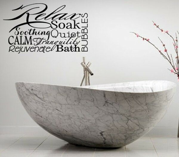 Relax spa bathroom rules lettering bath words vinyl decor for Spa wall decor