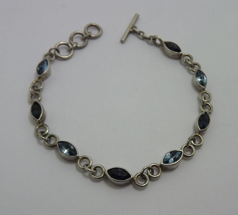 Vintage Design Sterling Silver 925 Genuine Blue Topaz