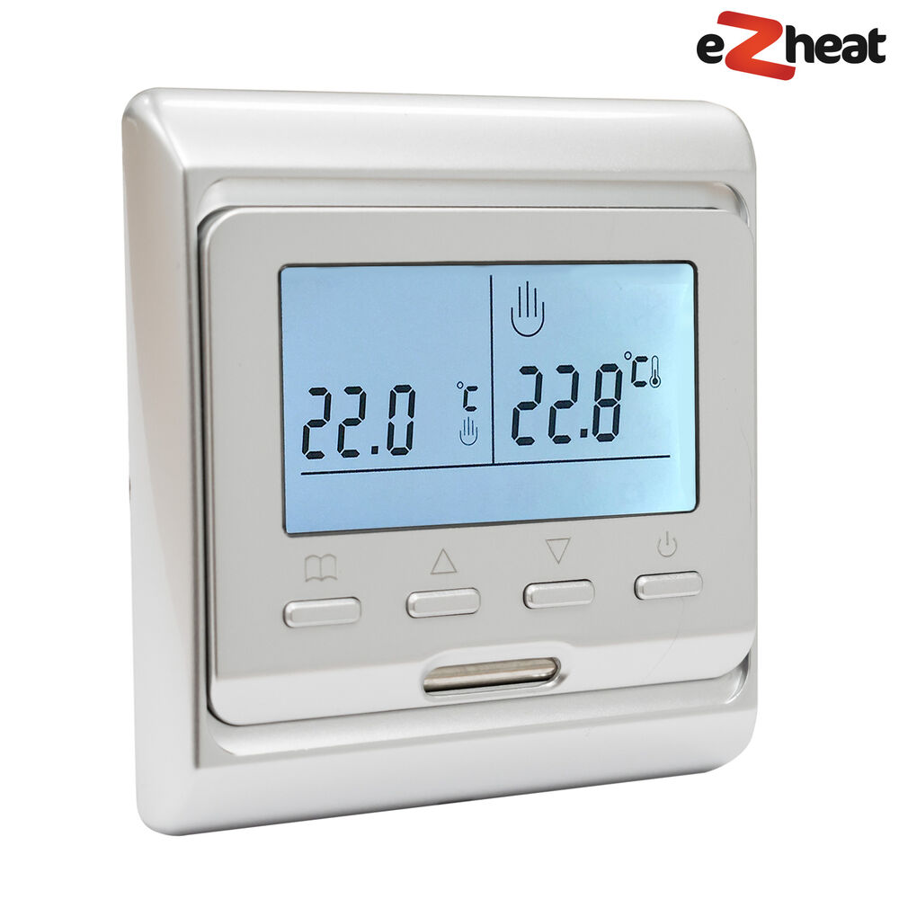 Silver Programmable Digital Thermostat For Electric Underfloor Heating