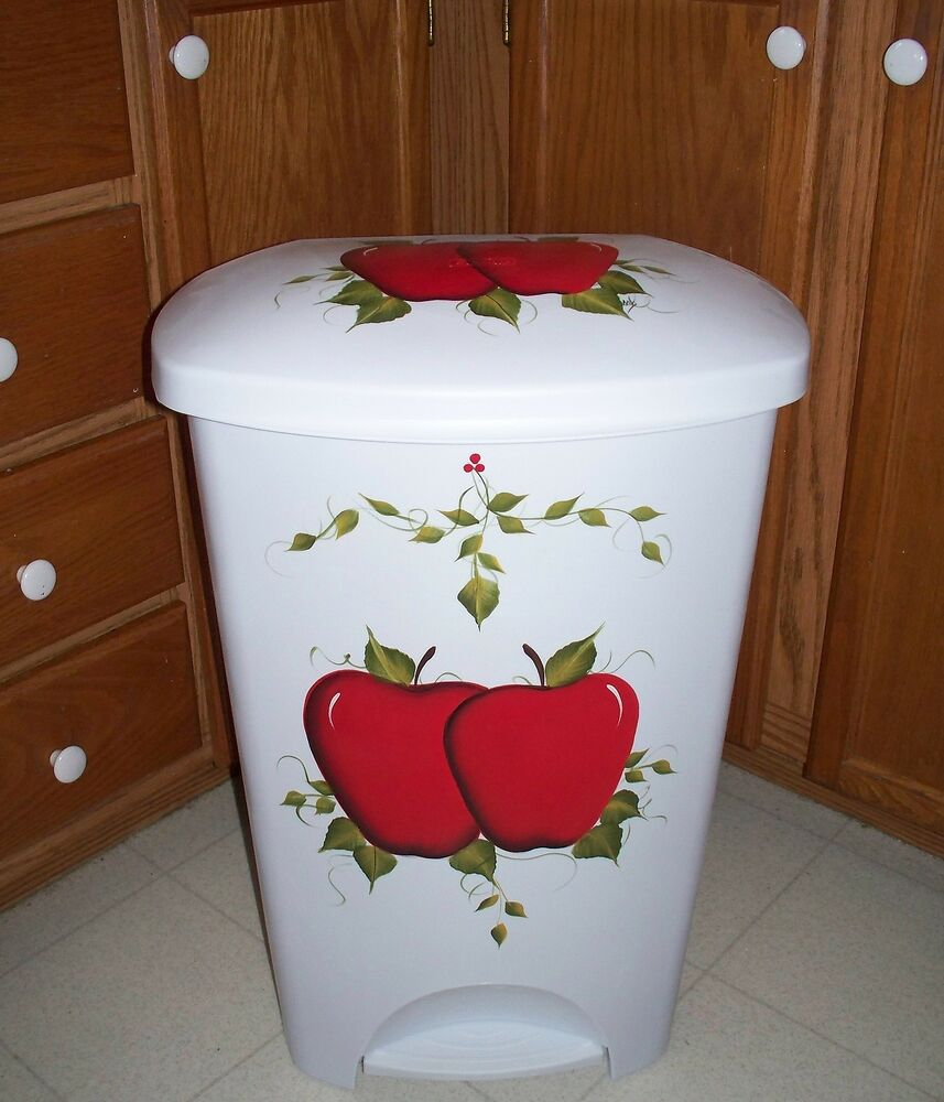 Hand Painted Kitchen Trash Cans