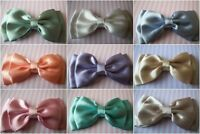 "HANDMADE PALE SATIN 4"" DOUBLE BOW HAIR CLIP CUTE VINTAGE RETRO STYLE GLAMOUR"