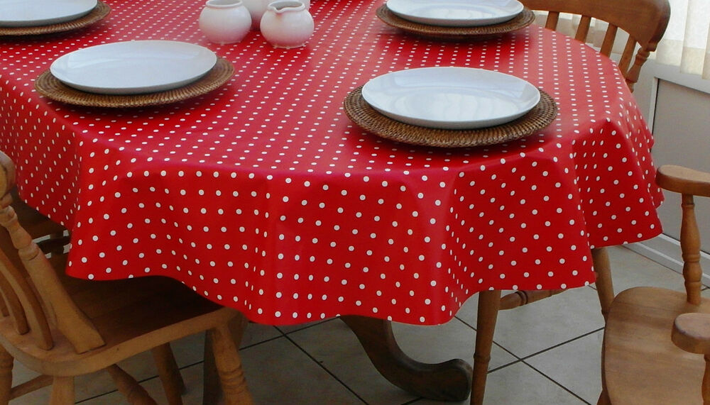 140x300cm Oval Pvc Vinyl Oilcloth Tablecloth Red Amp White