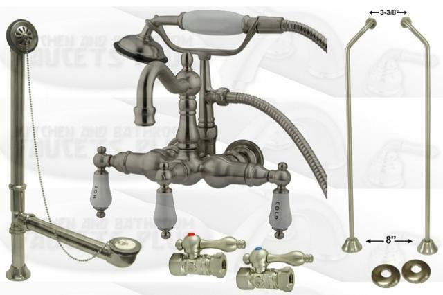 Satin Nickel Clawfoot Tub Faucet Including Drain Supplies Stops Packa