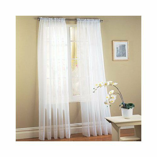 "SET OF 2 SHEER VOILE CURTAINS 63"" LONG WHITE"
