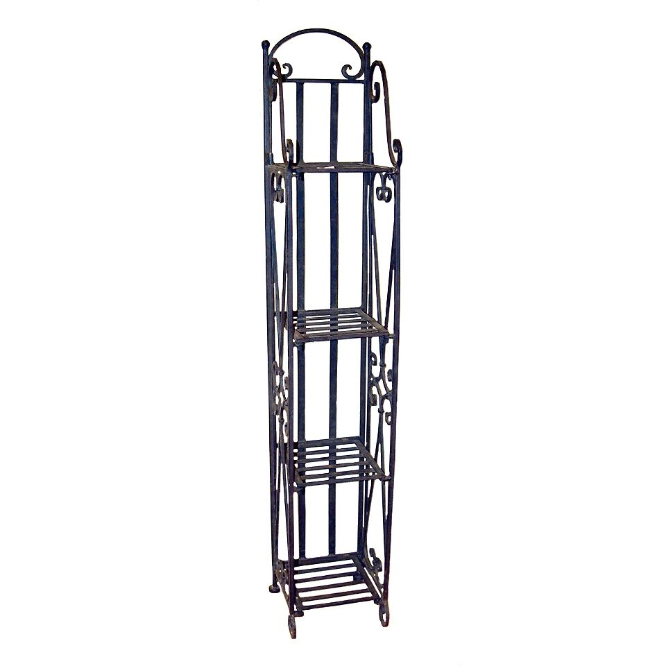 home decor furniture narrow wrought iron metal etagere shelf storage ebay. Black Bedroom Furniture Sets. Home Design Ideas