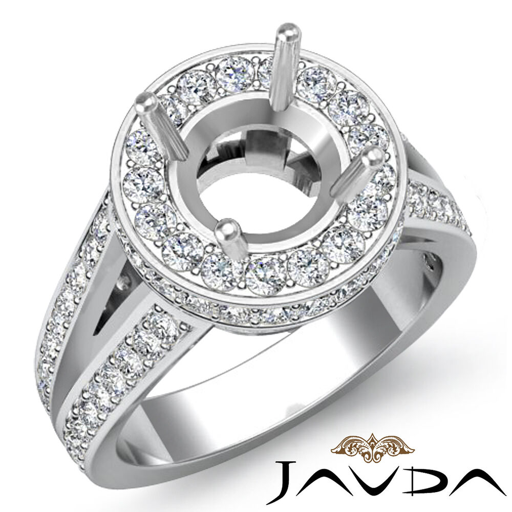 Diamond Engagement Round Vintage Ring 18k White Gold Halo