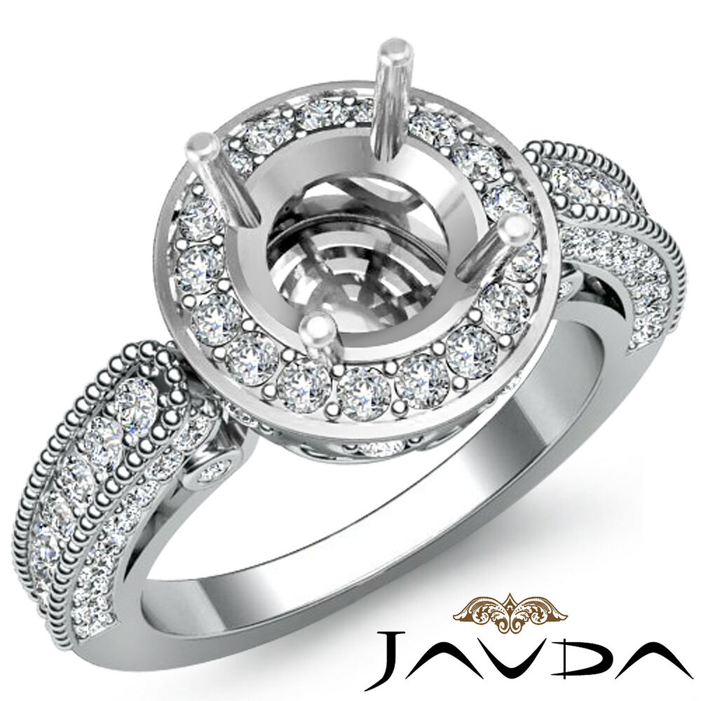 wedding ring settings engagement halo pave set milgrain ring 1ct 1000