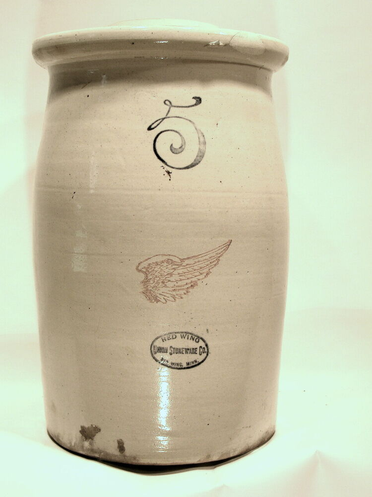 Rare Red Wing Stoneware 5 Gallon Butter Churn Crock With
