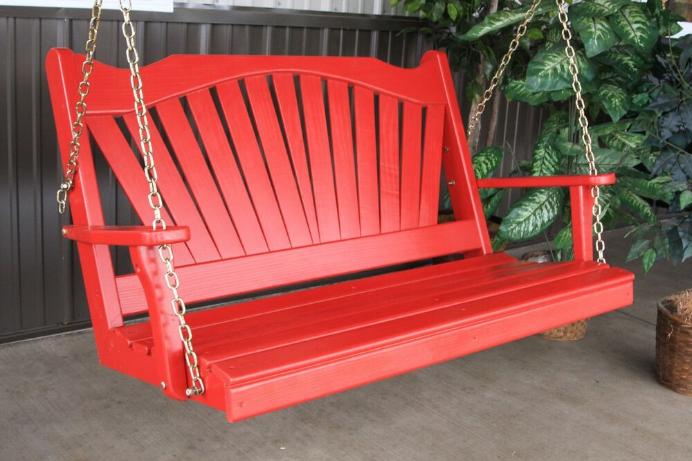Classic Pine Outdoor 4 Foot Fanback Porch Swing 9 Paint