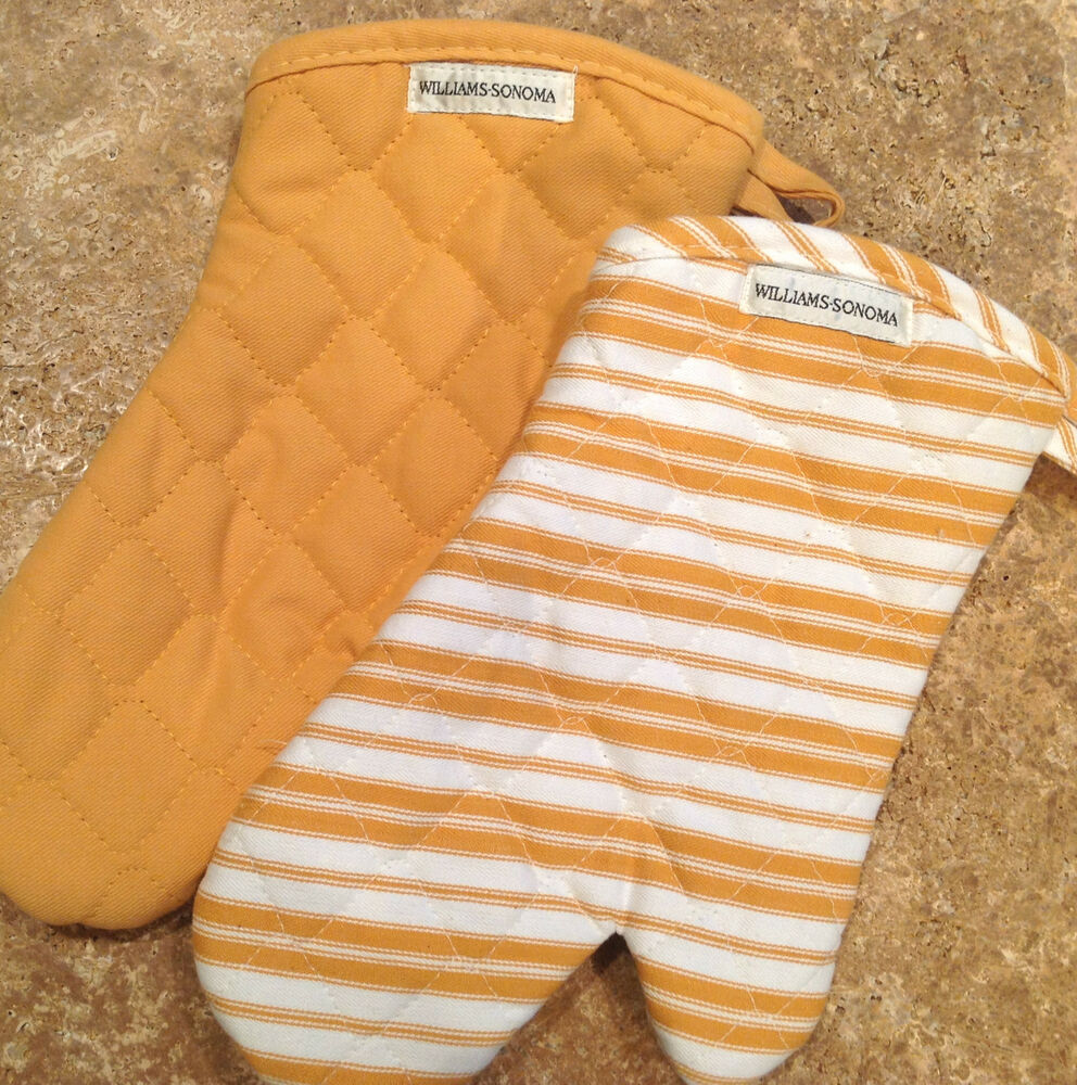 Williams Sonoma Striped Oven Mitt Spring Colors Yellow