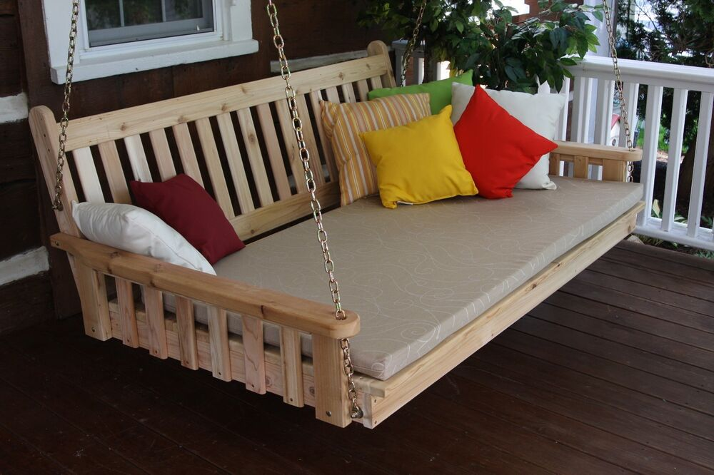 Outdoor 6 Traditional English Porch Swing Bed Unfinished