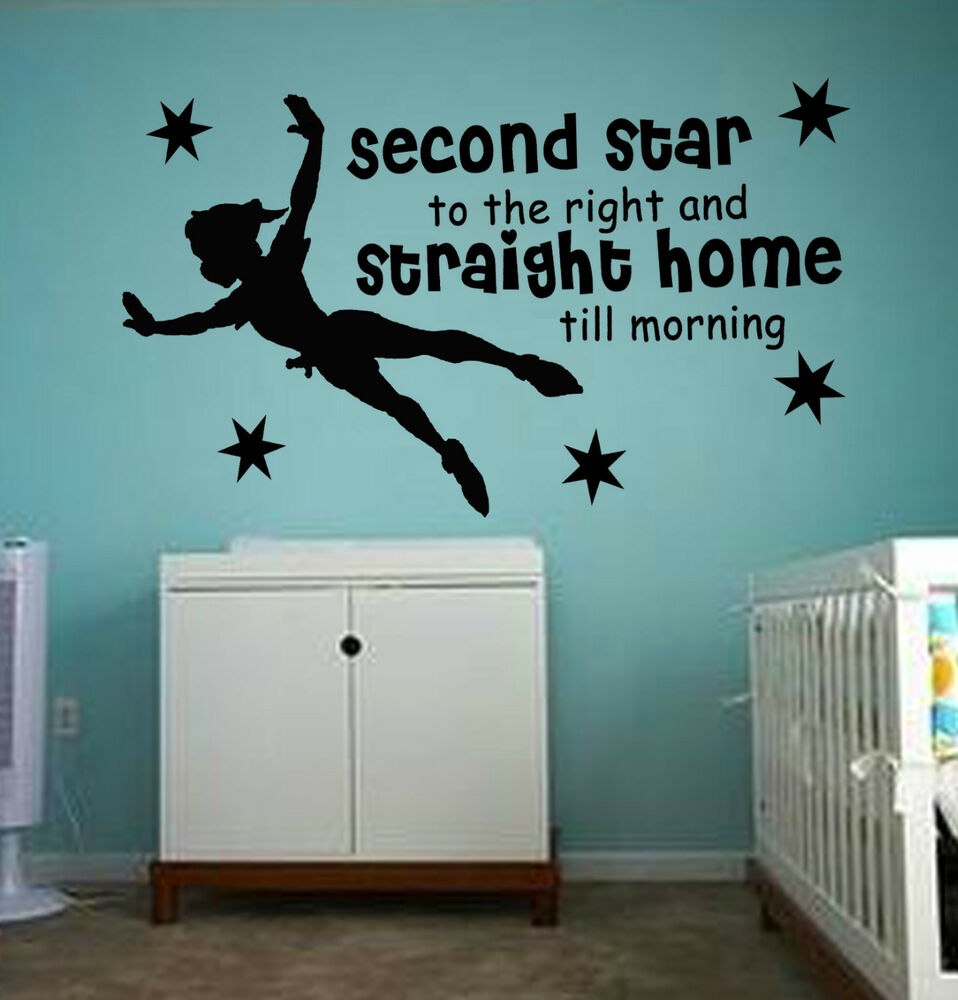 peter pan second star to the right nursery child wa284 wall art sticker mural ebay. Black Bedroom Furniture Sets. Home Design Ideas
