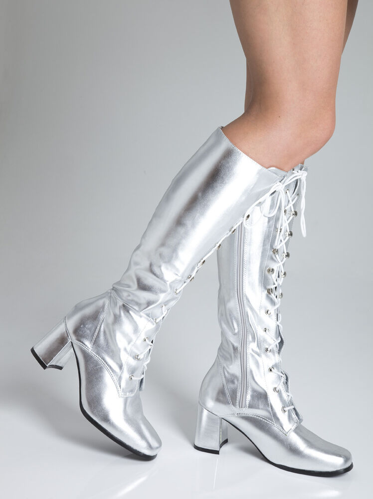 silver knee high eyelet boots 60s silver fashion boots
