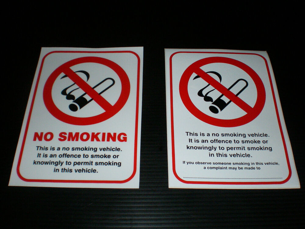 No Smoking Sign Double Sided Window Sticker For Taxi Van