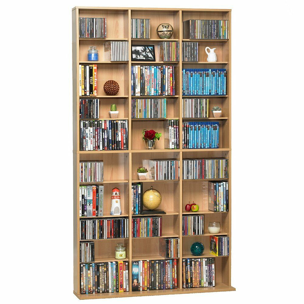 1080 cd dvd media cabinet storage maple adjustable shelves In wall dvd storage