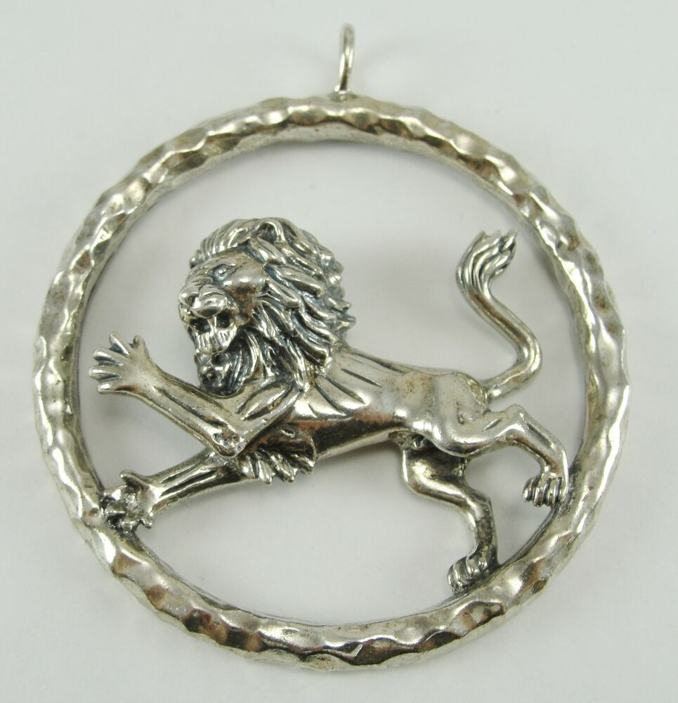 Sterling Silver Lion Medal Pendant Round Large Heavy Leo