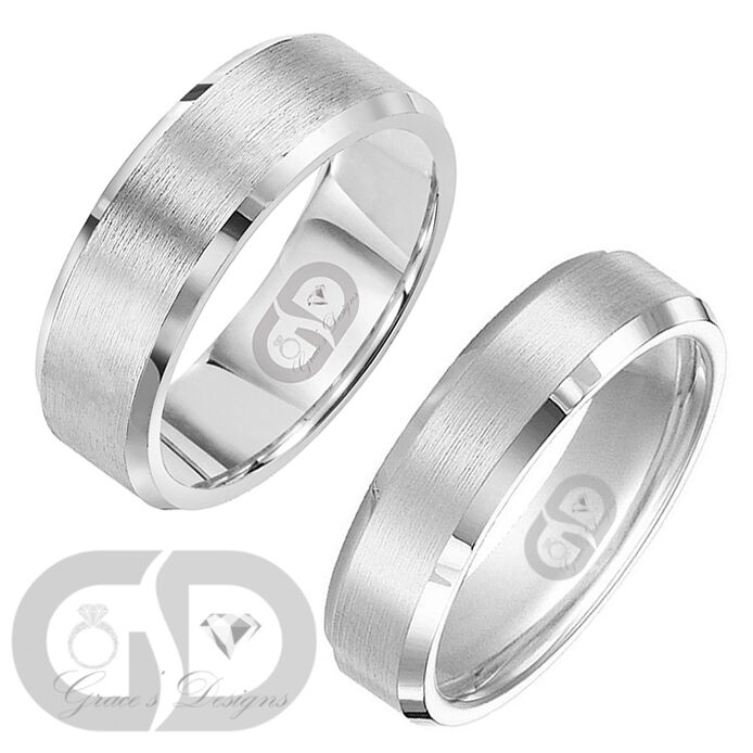 wedding engagement band stainless steel ring matte satin sizes 5 14