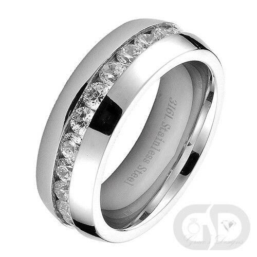8mm Mens Wedding Engagement Band Stainless Steel Eternity CZ Ring Sizes 7
