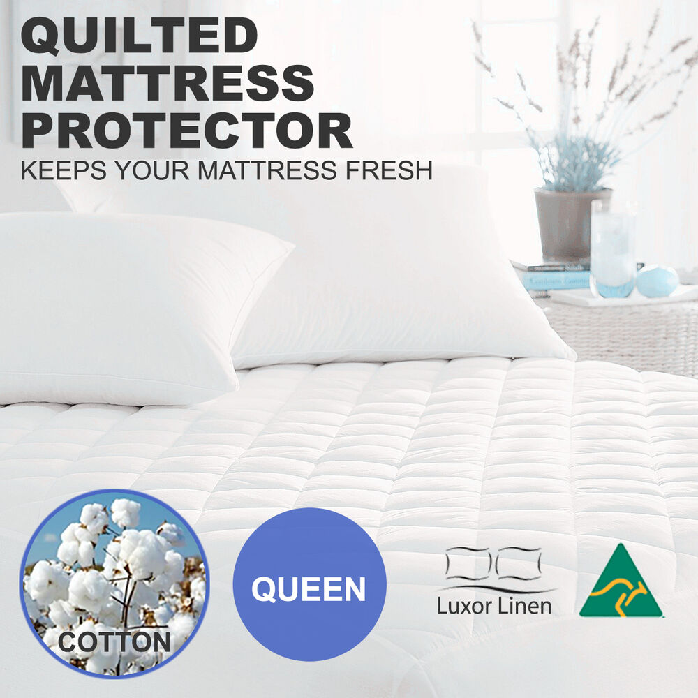 Aus Made 100 Cotton Cover Quilted Mattress Protector