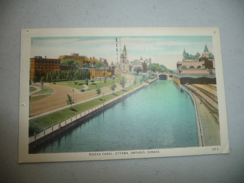 vintage postcard rideau canal ottawa ontario canada 1955 ebay. Black Bedroom Furniture Sets. Home Design Ideas