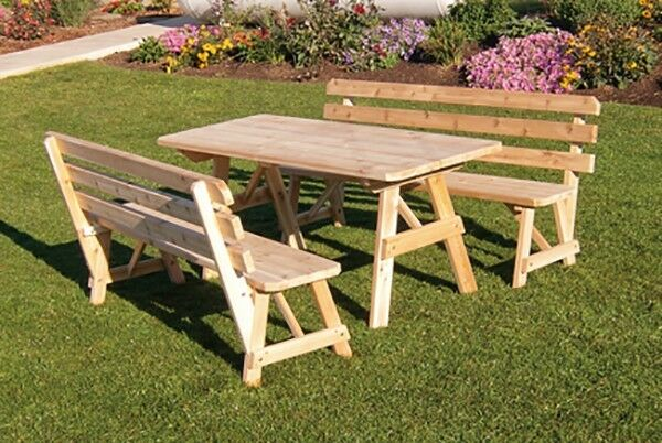 Traditional cedar 8 foot picnic table amp 2 backed benches 8 stain