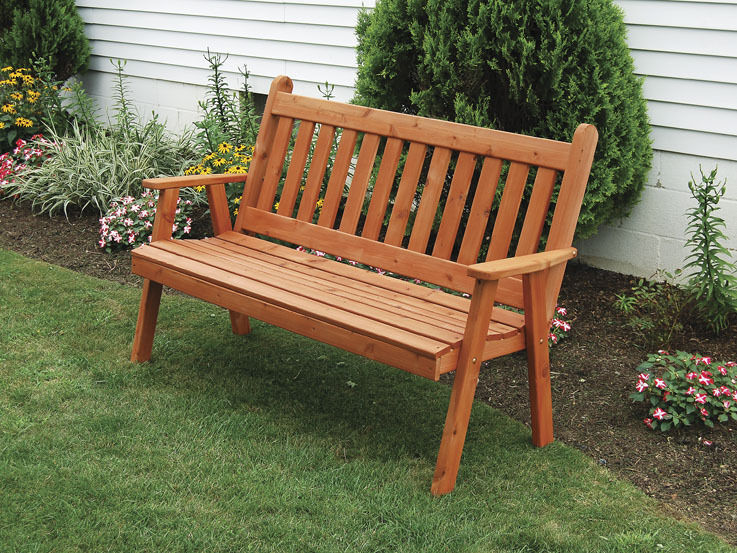 Amish Built Decks : Outdoor traditional english garden bench unfinished