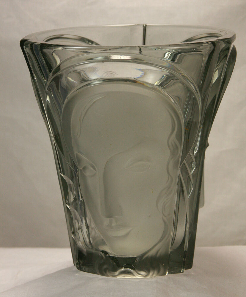 antique deco glass vase with etched faces c1920 ebay