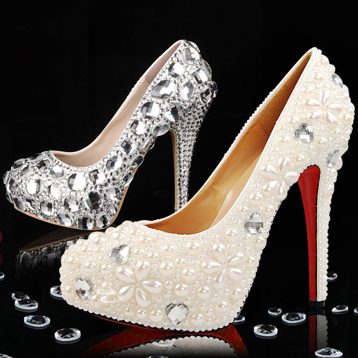 bling rhinestones pearls materials for diy wedding bridal shoes