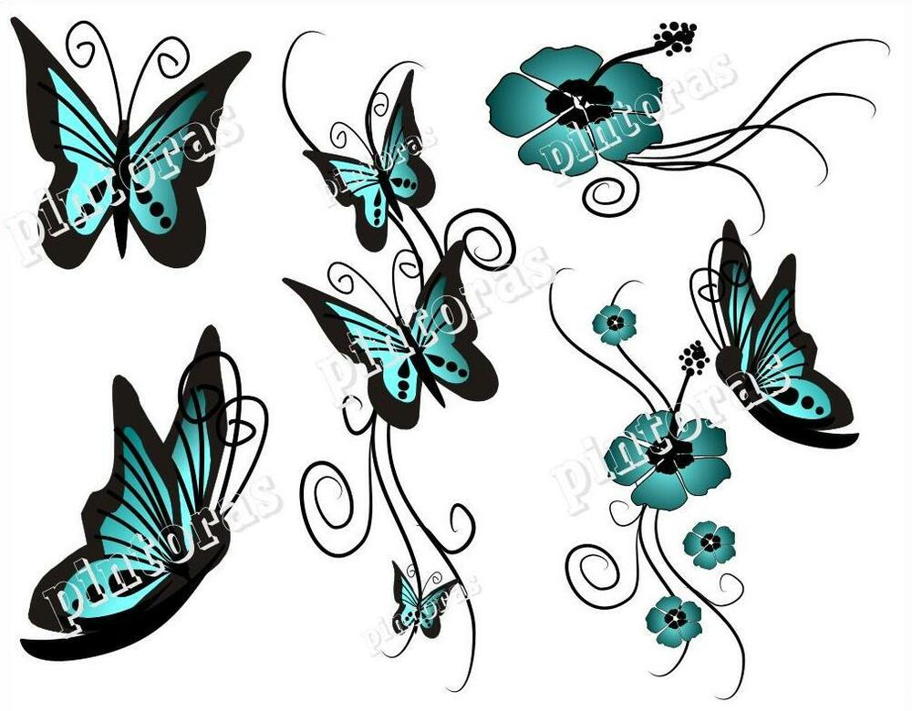 100 nailtattoos set schmetterling hibiskus hawaii blume 5. Black Bedroom Furniture Sets. Home Design Ideas