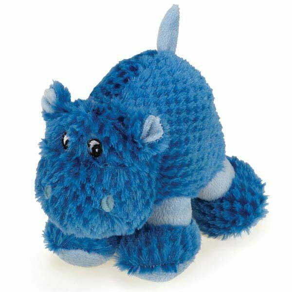 dog toy huggable hippo blue puppy squeaker soft clipped