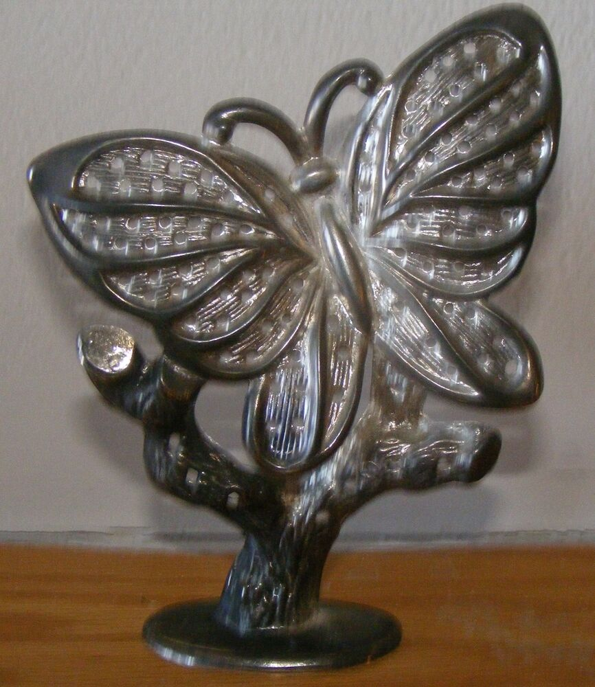 silverplated metal butterfly earring holder display. Black Bedroom Furniture Sets. Home Design Ideas