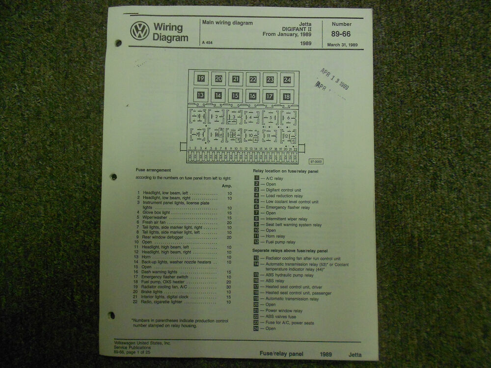 1989 Vw Jetta Main Wiring Diagram Service Manual Digifant