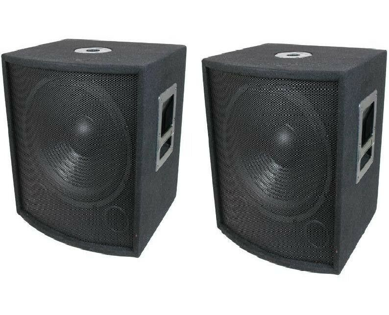 New 2 12 subwoofer speakers pair woofer sub box dj pa for Box subwoofer in vetroresina