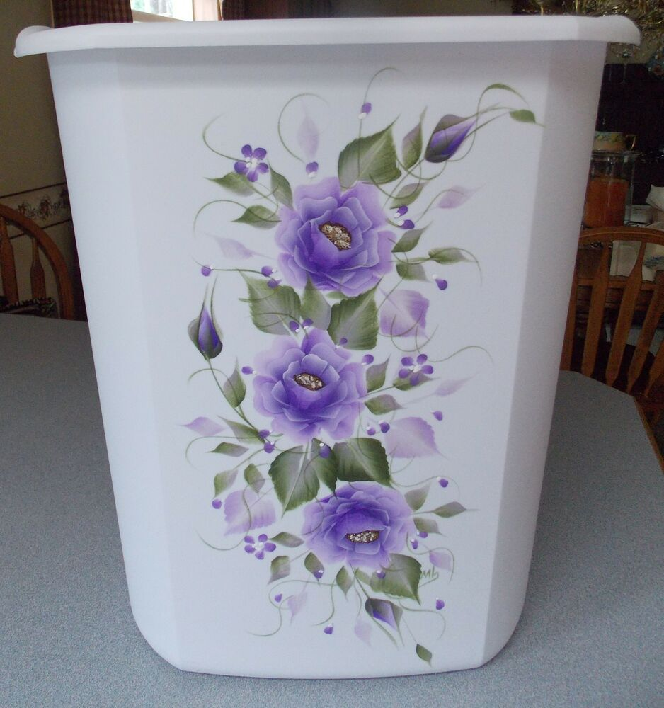 Hand Painted Roses Shabby To Chic Waste Paper Basket