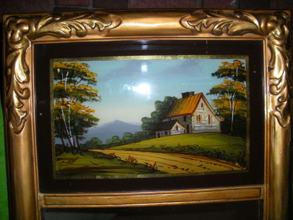 Antique Embossed Wood Framed Reverse Painting On Glass
