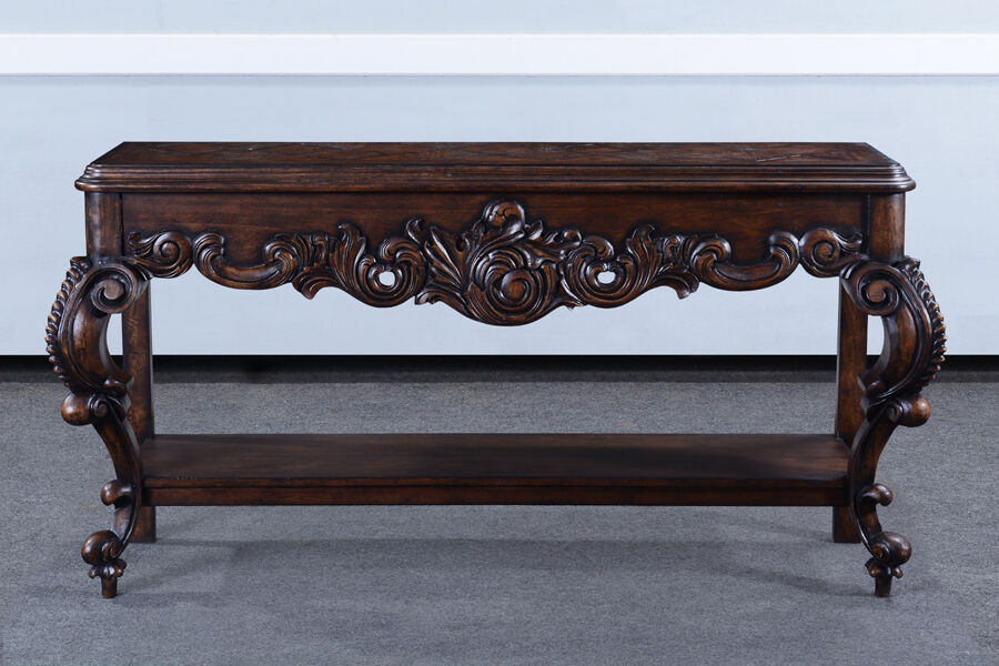 Baroque carved console table sofa walnut stained