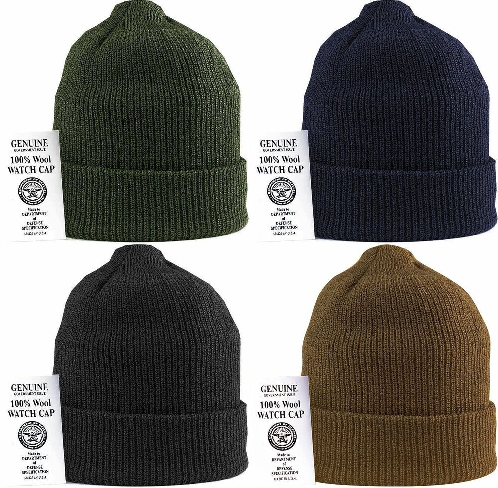 Military 100 wool knit winter hat wool watch cap usa made ebay for Winter watches