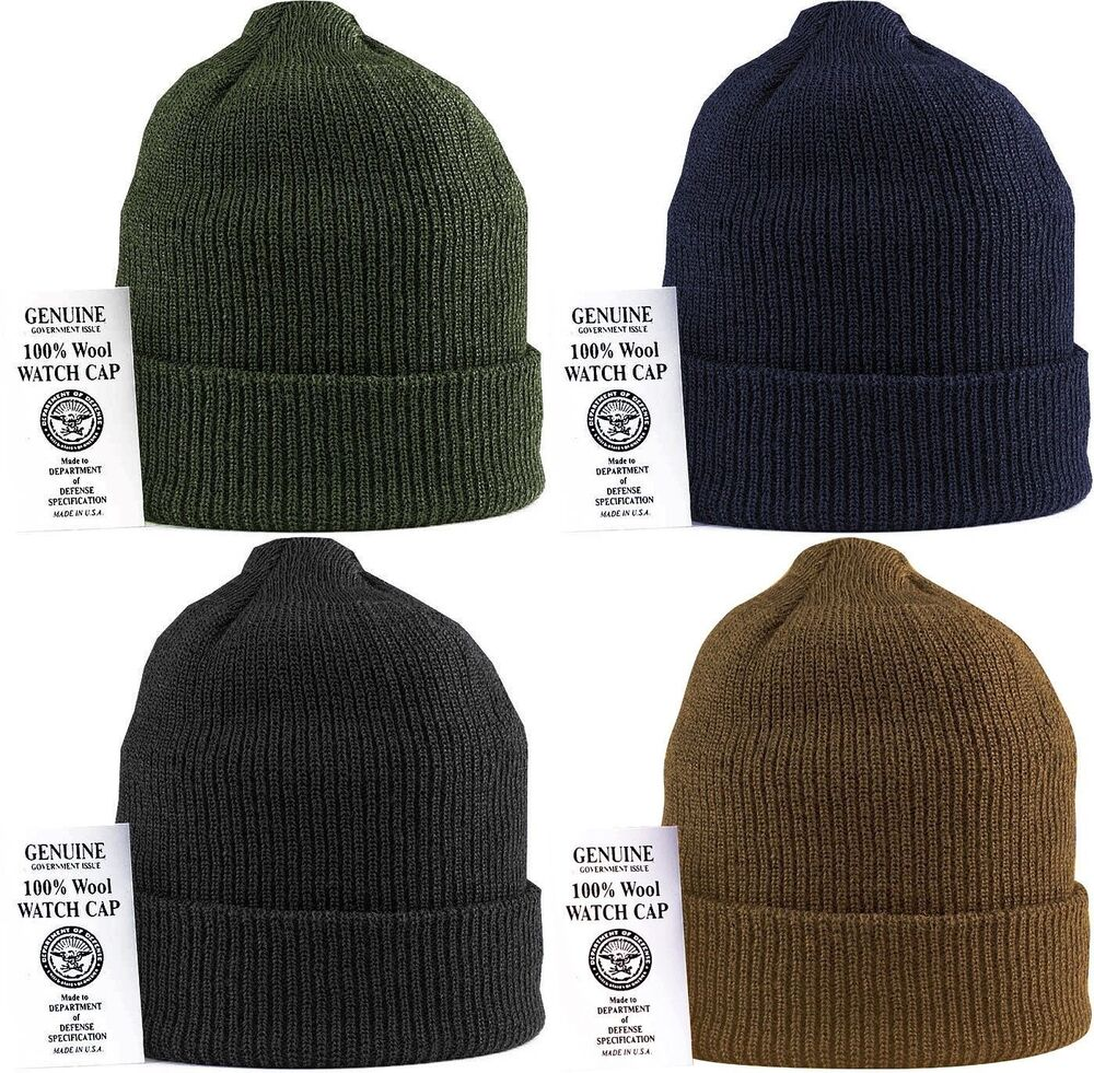 f7518e79 Details about Military 100% Wool Knit Winter Hat Wool Watch Cap USA Made