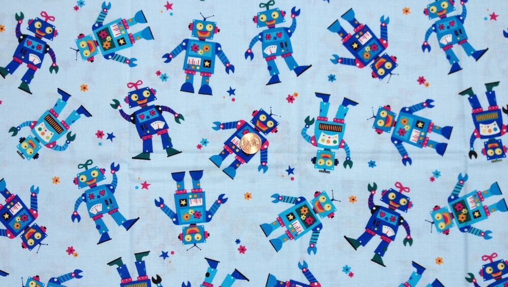 Robots space fabric light blue fabric material tech for Space baby fabric