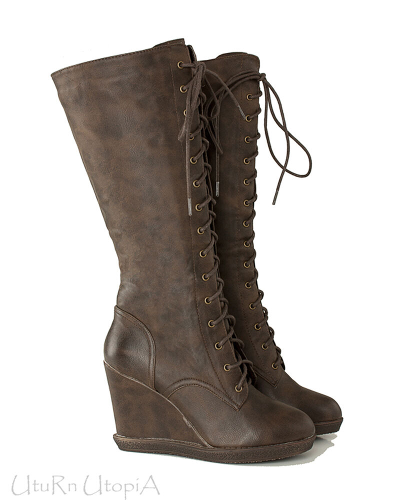 steunk wedge knee high lace up western boots vintage