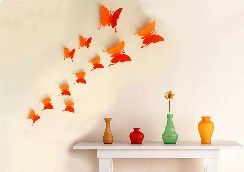 wandtattoo wandstickers wanddeko 3d schmetterlinge butterfly wandtatoo orange ebay. Black Bedroom Furniture Sets. Home Design Ideas