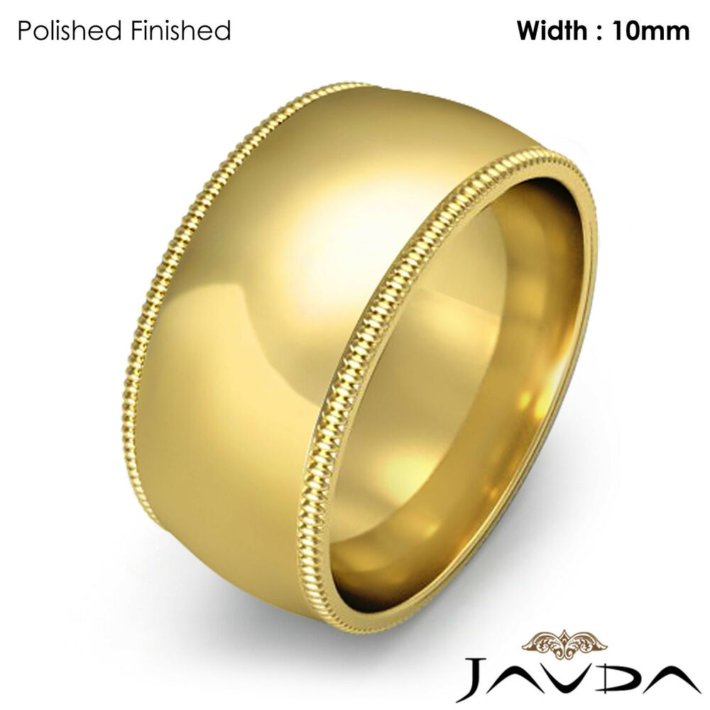 Women Wedding Band 10mm 14k Yellow Gold Milgrain Comfort